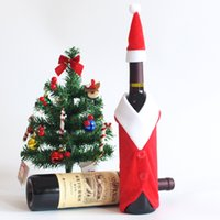Wholesale Wholesale Holiday Wine Bags - 100pcs lot New Christmas Decoration Ornaments Gift Props Bottle Cover Holiday Decoration Crafts Wine Bags with Hat
