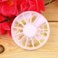 Wholesale Gold Metal Sticker Slices Wheel - Wholesale-1pcs Hot Worldwide Mixed Design Gold Metal Slice Nail Sticker Wheel Nail Art Decoration Decals Acrylic Tips
