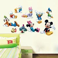 Wholesale Minnie Wallpaper - Cartoon Mickey Minnie Mouse Donald Duck Art Mural Poster Sticker Kids Room Nursery Wall Sticker Decor Classic Mouse Wallpaper Home Decal