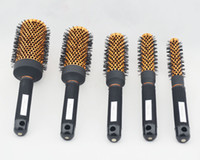 farklı boylar saç toptan satış-Berber Saç Fırçası Tarak Seti Yuvarlak Isıtmalı Yüksek Kaliteli Salon Styling Saç Turuncu Renk Altı Farklı Boyutu 120 Parça Lot Başına DHL Ücretsiz Gönderi