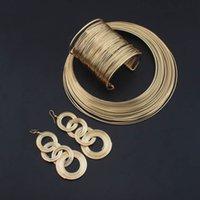 gargantilla al por mayor-Conjunto indio de la joyería Moda Metal Wire Torques Gargantillas Collares Brazalete Pendientes Conjuntos Para Mujeres Vestido de regalo Accesorios nupciales N2122