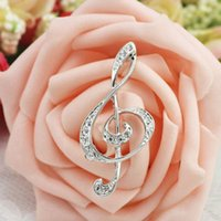 Wholesale Crystal Music Pins - Wholesale Clear Crystal Rhinestone Plated Music High Notes Pin Brooch