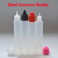 Wholesale E Liquid Refill Bottles - Fast Shipping Unicorn Bottle Empty Bottle 30ml PE Top Cap Dropper Pen Style Unicron E-Liquid Dripper Bottle for Refilling Fedex Free