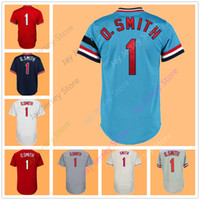 Wholesale Button Cool - Ozzie Smith Jersey Cooperstown 1992 Blue Red White Cream Grey Flexbase Cool Base BP Mesh Pullover Button Down