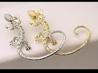 Wholesale Gold Diamond Ear Cuffs - Cheapest !! 4.99 !Popular Fashion 2015 Jewelry Ear Cuff Earrings Women Gecko Diamond Rhinestone Gold White Ear Cuffs On Ears Fast Shipping