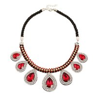 Wholesale Luxury Statement Drop Necklace - Luxury Crystal Diamond Maxi Necklaces Women Fashion Choker Statement Necklaces with Water Drop Ruby Pendants NL026