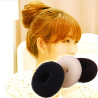 Wholesale Socks Hair - 36pcs Hair Volumizing Scrunchie Donut Ring Style Bun Scrunchy Sock Poof Bump It Snooki 6 8 9cm