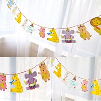 Jungle Animal Pig Pennant Bandiere Bambini Decorazione festa di compleanno Baby Shower Boy Ghirlande Photo Booth Candy Bar Decor