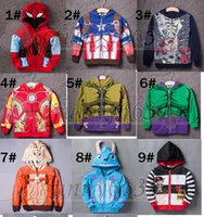 Wholesale Kids Cashmere Hoodies - spring girl and boy coat Hoodies Hulk Iron Man Captain America children clothes kid fashion jacket Children's Outwear free ship