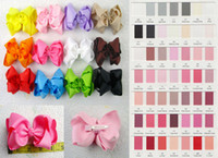 Wholesale Double Bow Clips - 4 inch Double alligator hairpin Grosgrain polyester hair accesorries 12pcs baby girl child boutique solid hair bows WITH Clips
