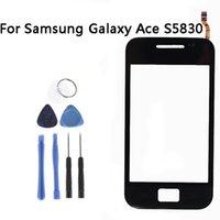 ingrosso digitalizzatore asso-Sensore touchscreen nero all'ingrosso per Samsung Galaxy Ace S5830 Vetro per finestra Digitizer Touchscreen Parti di ricambio + Strumenti NP242