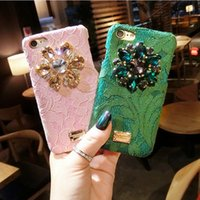 Wholesale Italy Covers - Italy Luxury Diamond Flower Lace Hard Phone Case For Iphone 6 6s 6plus 7 7plus 8 8plus Back Cover Rainbow Crystal Pc Rhinestone