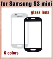 сенсорный дисплей для галактики samsung s3 оптовых-Сенсорный экран стекла объектива протектор экрана для Samsung Galaxy S3 Mini i8190 замена передний экран дисплея стеклянная крышка 6 цветов SNP012