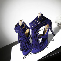 Vente en gros - Brand New Sale Sexy Women Tassel Sandals Bleu Noir Violet Rouge Ladies High Heel Rivets Fringe Shoes AY102 Plus Big Size 32 43 10