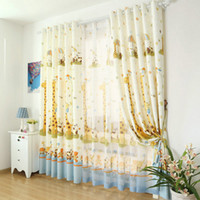 Wholesale Curtains Kid - Window Cartoon Curtains For Kids Eco-friendly Curtains + Voile Child Curtains to Bedroom Sailing Giraffe Blackout Summer Style