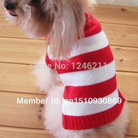 Gros-Tangpan Pet Dog Cat Stripes chandail de laine vêtements d'hiver Warm Sweater Knit Tricots Puppy roulé Manteau Apparel