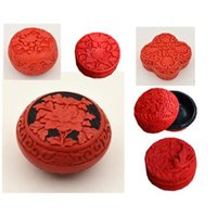China Carved Flower Red Cinnabar Lacquer Phoenix / Peony Jewelry Boxes Gift
