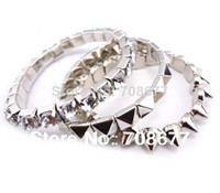 Wholesale Stretch Spike Bracelets - no min order 2014 Spike Stretch Bracelets & Bangles 3pcs Rivet Crystal for Women fashion jewelry branded