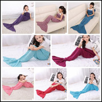 Wholesale Wholesale Crochet Bags - 13 Colors 140*70cm Kids Handmade Knitted Mermaid Blankets Mermaid Tail Blanket Crochet Blanket Throw Bed Wrap Sleeping Bag CCA8355 50pcs