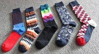 Wholesale Disco Dresses - Custom Design Print Logo 2016 Mens Dress Socks Colorful - Fun Funky Happy Color Gifts Cotton Stripe Crew Sock Men's Dress Socks Disco Tribe