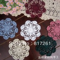 Wholesale Hooked Feeling - free shipping 2013 new 30 pic lot 12-14cm round flowers fabric felt lace doilies for kitchen accessories crochet hook table mats