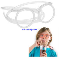 Wholesale Silly Drinking Glasses - 100pcs lot Funny glasses drinking straw silly straws glasses soft tube flexible drinking glasses straw bar halloween party props