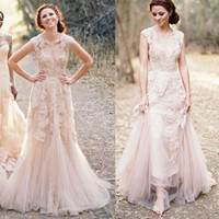 Wholesale Colored Cheap Wedding Dresses - Fashion Blush-Colored Dresses Applique Pink Wedding Dress Cap Sleeve Lace Plus Size V Neck Vintage Fit And Flare Lace Wedding Gown Cheap