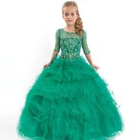 Wholesale beauty pageants online - Hot Sale Kids Beauty Pageant Dresses For Junior Children Pageant Gowns Turquoise Flower Girl Dresses Peach Color Party Dress