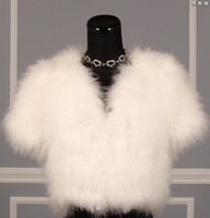 Wholesale Short Feathered Jacket - Ivory Feather Bridal Boelros Winter Wedding Capes Wraps Bridal Jackets Cape Short Sleeve Bolero Women Free Custom Made Hot Sale