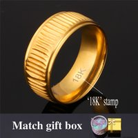 Wholesale Stamp Men - U7 Classic 18K Real Gold Plated Vintage Band Ring with 18K Stamp Men Jewelry Perfect Couple Rings with Gift Box R446