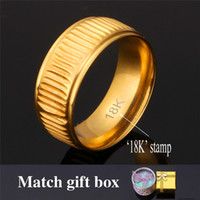 Wholesale U7 Classic K Real Gold Plated Vintage Band Ring with K Stamp Men Jewelry Perfect Couple Rings with Gift Box R446