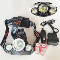 phare vélo vélo lumière achat en gros de-5000LM 3X CREE XML T6 LED Phare Phare 4 Mode Lampe Tête + Chargeur CA + 2 * Batterie 18650 Rechargeable pour vélo vélo lumière Sport En Plein Air