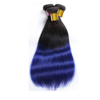 Wholesale two tone blue color weaves - Brazilian human hair weave Ombre Straight hair bundles 1B&Blue two tone color Hair wefts 8~34inch Indian hair extensions