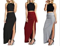 Wholesale Cheap Sexy Bodycon Midi Dresses - Cheap Causal Two Pieces Long Prom Evening Dresses Split Midi Skirt Two Piece Bodycon Evening Party Dress Black Plus Size Prom Dresses Sexy