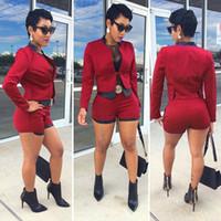 Wholesale Jumpsuit New Design - Wholesale-New fashion design 2016 full sleeve bodycon jumpsuit 2 piece rompers women jumpsuit sexy ladies short jumpsuit M0353