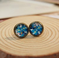 Wholesale Bohemian Studs - 10mm Blue Floral Stud Earrings for Girls Bohemian Ideal Christmas Earrings Vintage Jewelry Bronzed Earrings -J481