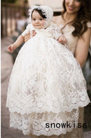 Wholesale Baby Boy Gowns - Wholesale- 2017 Vintage baby girls Christening gowns baptism dresses for girl boys toddlers outfit half sleeves with two tiered lace