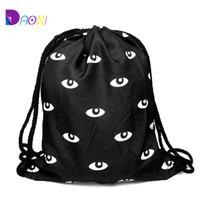 harajuku koşu torbası toptan satış-Toptan Satış - Toptan-En Kaliteli 2015 kadın piknik feminina harajuku İpli çanta erkek sırt çantaları gözler siyah için sırt çantası baskı çantası siyah