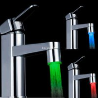 Wholesale Automatic Faucets Bathroom - LED Water Faucet Light Temperature Sensor automatic Red Blue Green 3 Color for Kitchen Bathroom #11105