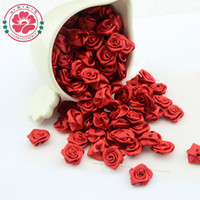 Wholesale free ribbon crafts - 1-35-1 500pcs lot Hot Selling Three colors 15mm 15mm Satin Ribbon Flower Rose for crafts clothing flowers&Wedding Free Shipping