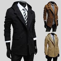 Wholesale Trench Coat Long Men Uk - Men Jacket Coat Slim Fit Men Casual Trench Coat Men's Clothing Winter Coats Mens Man UK Style Outwear Overcoat