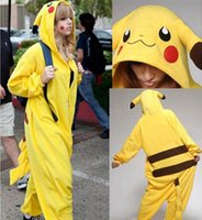Wholesale Cheap Pajamas Wholesale - New Hot Sale Yellow Pikachu Dress Lovely Cheap Pajamas Anime Cosplay Costume Unisex Adult Sleepwear Woman Coat
