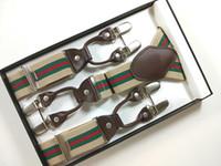 Wholesale Elastic Straps Braces Suspenders - 2015 New Fashion Genuine leather Men's braces 6 clips men's elastic suspenders adult straps Stripe braces Free shipping