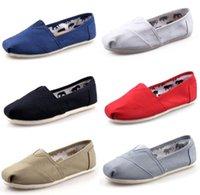 Wholesale plain red fabric - new Hot Selling Unisex Men's Women's Classic Canvas Shoes Plain Casual Sneaker Solid flats shoes loafers sneakers size 35-45