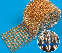 Wholesale Gold Ribbon Roll - 1 Yards 10 Rows Gold Cone Rivet Bullet Stud Spike Punk Mesh Wrap Roll Ribbon DIY
