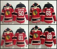 Wholesale Boys Grey Hoodies - Youth Chicago Blackhawks hooded Jersey 50 Corey Crawford 65 Andrew Shaw 81 Marian Hossa 88 Patrick kane kids Ice Hockey Hoodie size S-XL