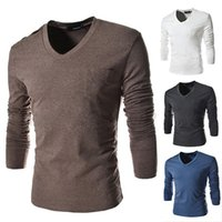Wholesale Chest Designs T Shirt - 2016 new long sleeved T-shirt shoulder single breasted chest pocket design casual long sleeved T-shirt T02