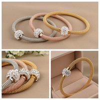 Wholesale Vintage Rose Gold Bangle Bracelet - Fashion 316L titanium steel silver gold rose gold cable wire bracelet vintage full crystal rhinestone magnetic ball clasp women bangle