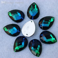 Wholesale Wholesale Loose Acrylic Crystals - Wholesale-Free shipping 100pcs lot 13*18mm Blue green color Acrylic Drop sew on loose rhinestone silver base flatback crystal ZZ205B