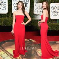 Wholesale Custom Celebrity Body Dresses - 2016 73th Golden Globe Awards Celebrity Dresses Emmy Rossum Red Carpet Evening Prom Gowns With Sheath Body Strapless Floor Length Design